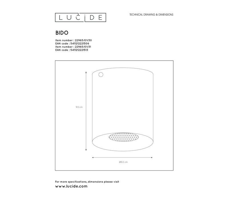 BIDO Plafondspot Rond 1xGU10/50W Wit