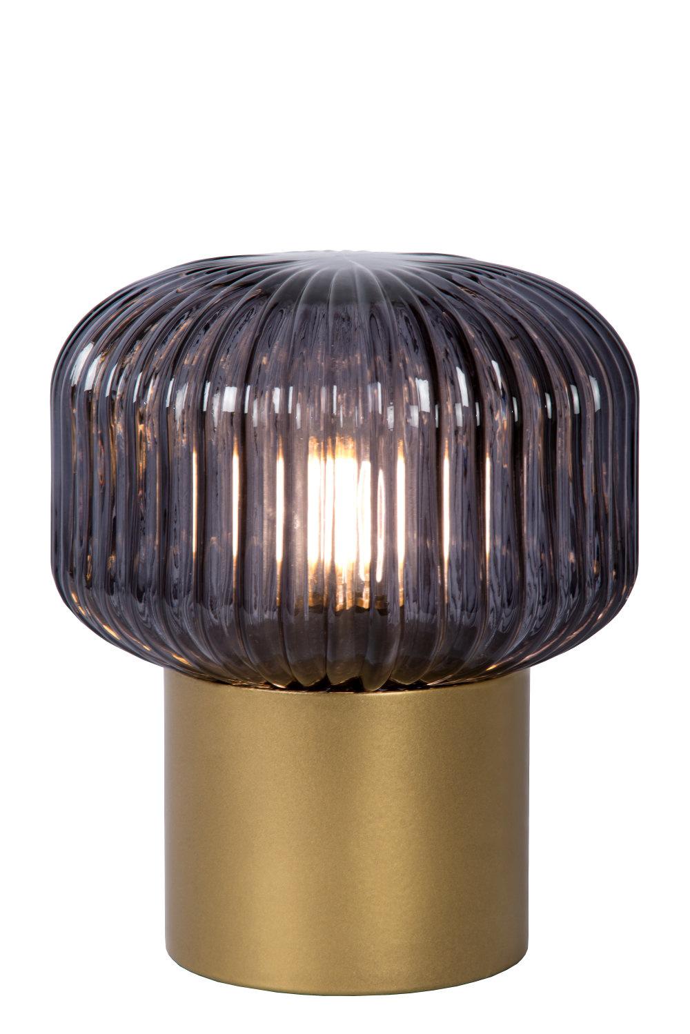 JANY Tafellamp E14/40W Mat Goud / Smoke glas