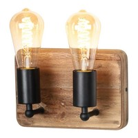Wandlamp Lenero 2 Lichts  30 x 15 cm hout zwart