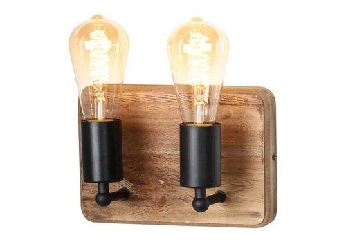 Freelight Wandlamp Lenero 2 Lichts  30 x 15 cm hout zwart