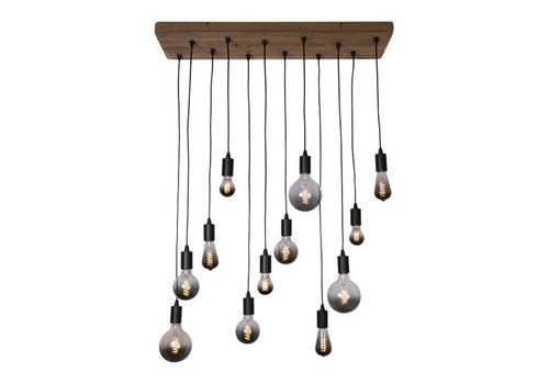 Freelight Hanglamp Lenero 12 Lichts 90 x 30 cm hout zwart