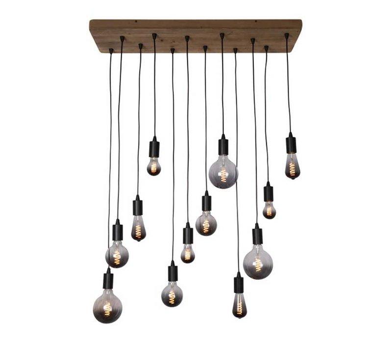Hanglamp Lenero 12 Lichts 90 x 30 cm hout zwart