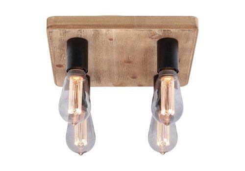 Freelight Plafondlamp Lenero 4 Lichts 40 x 40 cm hout zwart