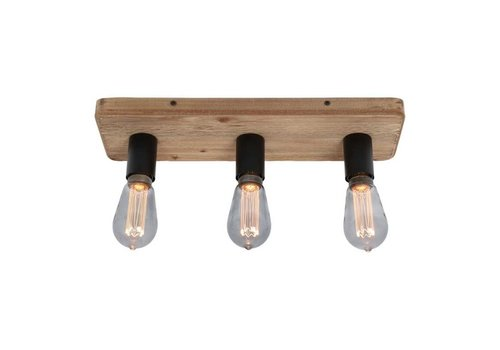 Freelight Plafondlamp Lenero 3 Lichts L 50 cm hout zwart
