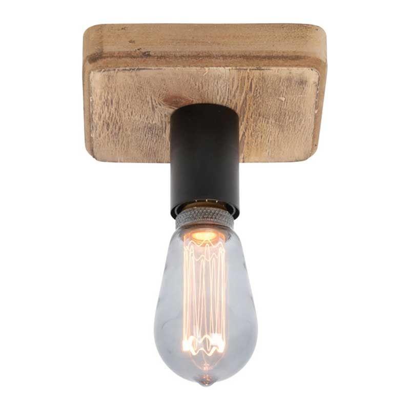 Freelight Plafondlamp Lenero 1 Lichts 15 x 15 cm hout zwart
