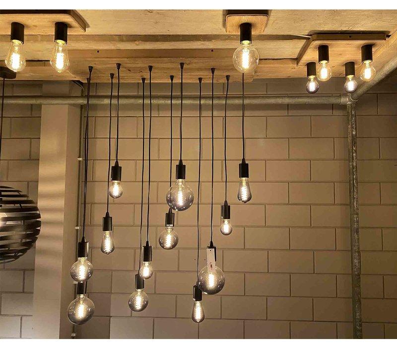 Plafondlamp Lenero 4 Lichts 40 x 40 cm hout zwart