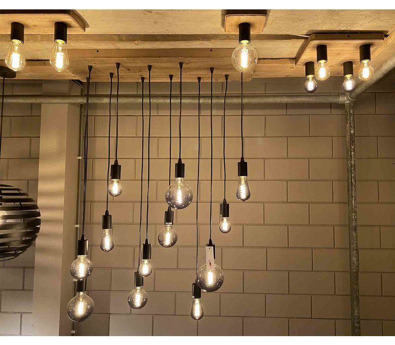 Plafondlamp Lenero 1 Lichts  15 x 15 cm hout zwart
