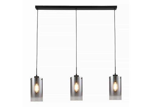 Freelight Hanglamp Ventotto 3 lichts L 100 cm rook glas zwart