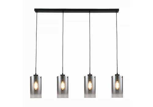 Freelight Hanglamp Ventotto 4 lichts L 120 cm rook glas zwart
