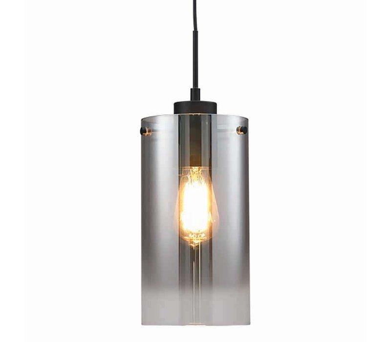Hanglamp Ventotto 1 lichts Ø 15 cm rook glas zwart