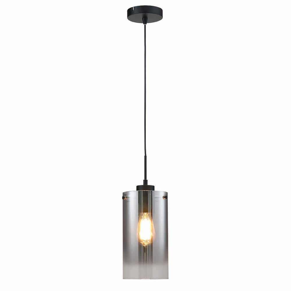 Freelight Hanglamp Ventotto 1 lichts Ø 15 cm rook glas zwart