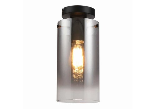Freelight Plafondlamp Ventotto H 33 cm Ø 15 cm rook glas zwart