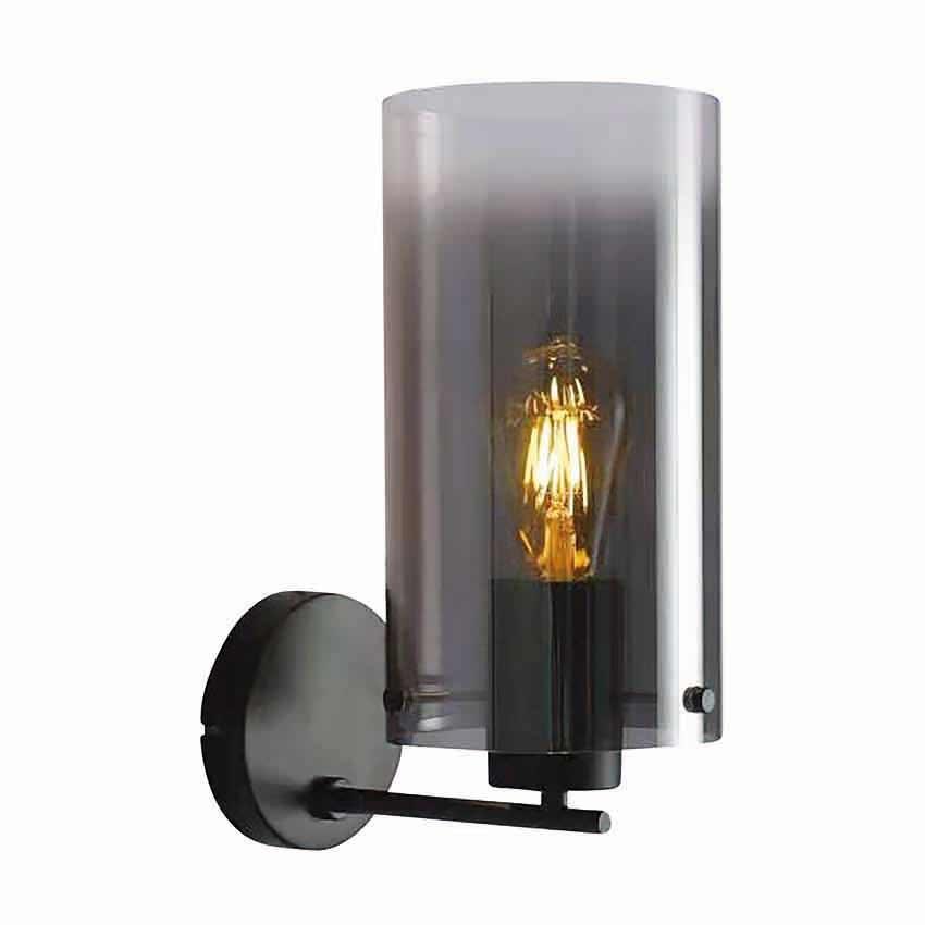 Freelight Wandlamp Ventotto H 33 cm rook glas zwart