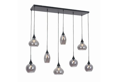 Freelight Hanglamp Macchia 8 lichts L 120 cm B 30 cm rook glas zwart