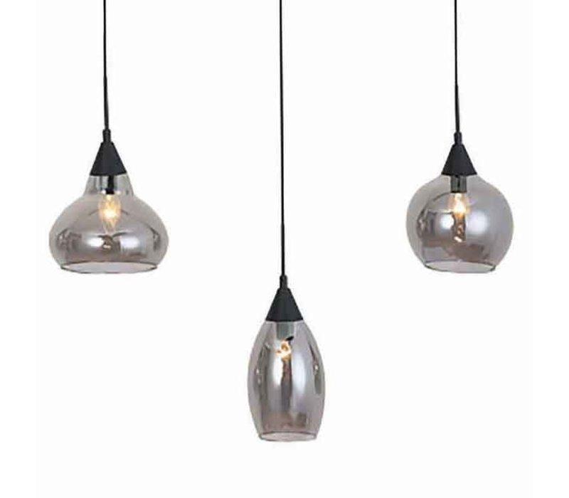 Hanglamp Macchia 8 lichts L 120 cm B 30 cm rook glas zwart