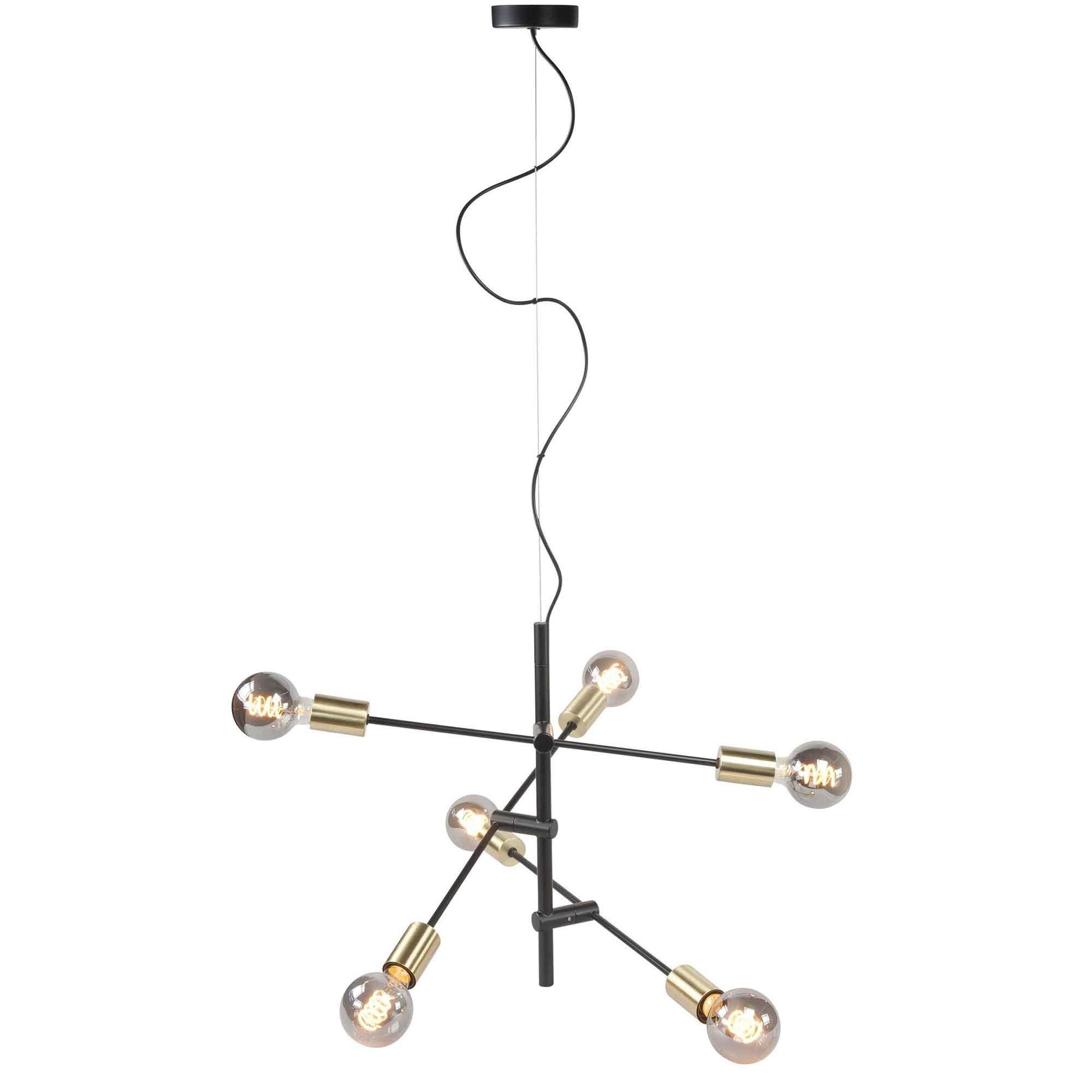 Highlight Hanglamp Sticks 6 lichts Ø 70 cm goud zwart