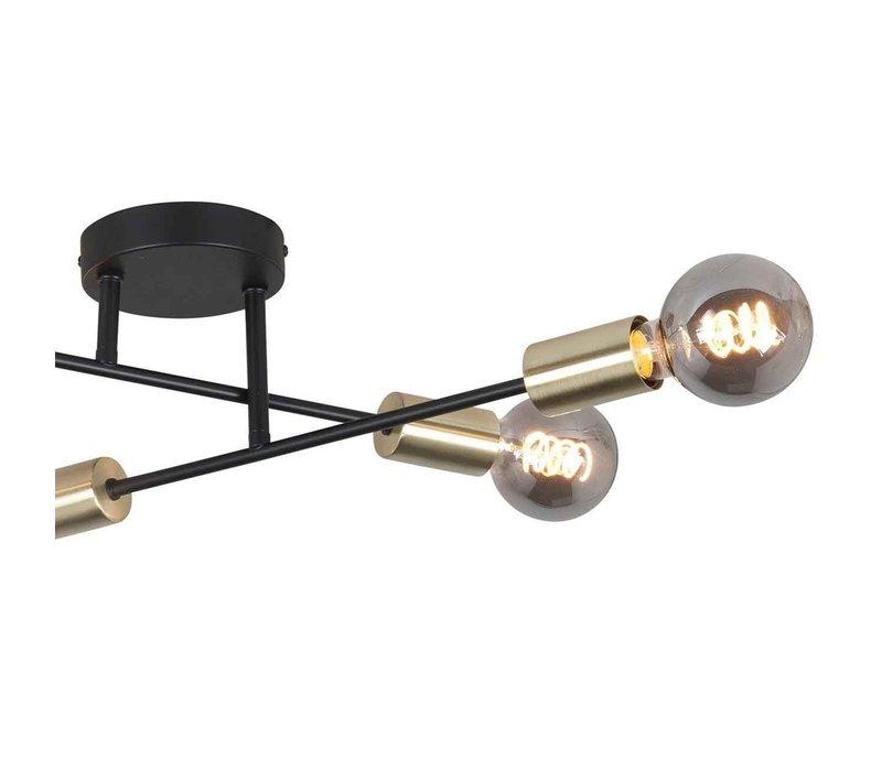 Plafondlamp Sticks 4 lichts Ø 60 cm goud zwart