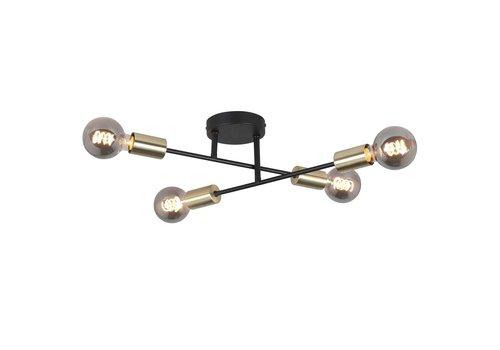 Highlight Plafondlamp Sticks 4 lichts Ø 60 cm goud zwart