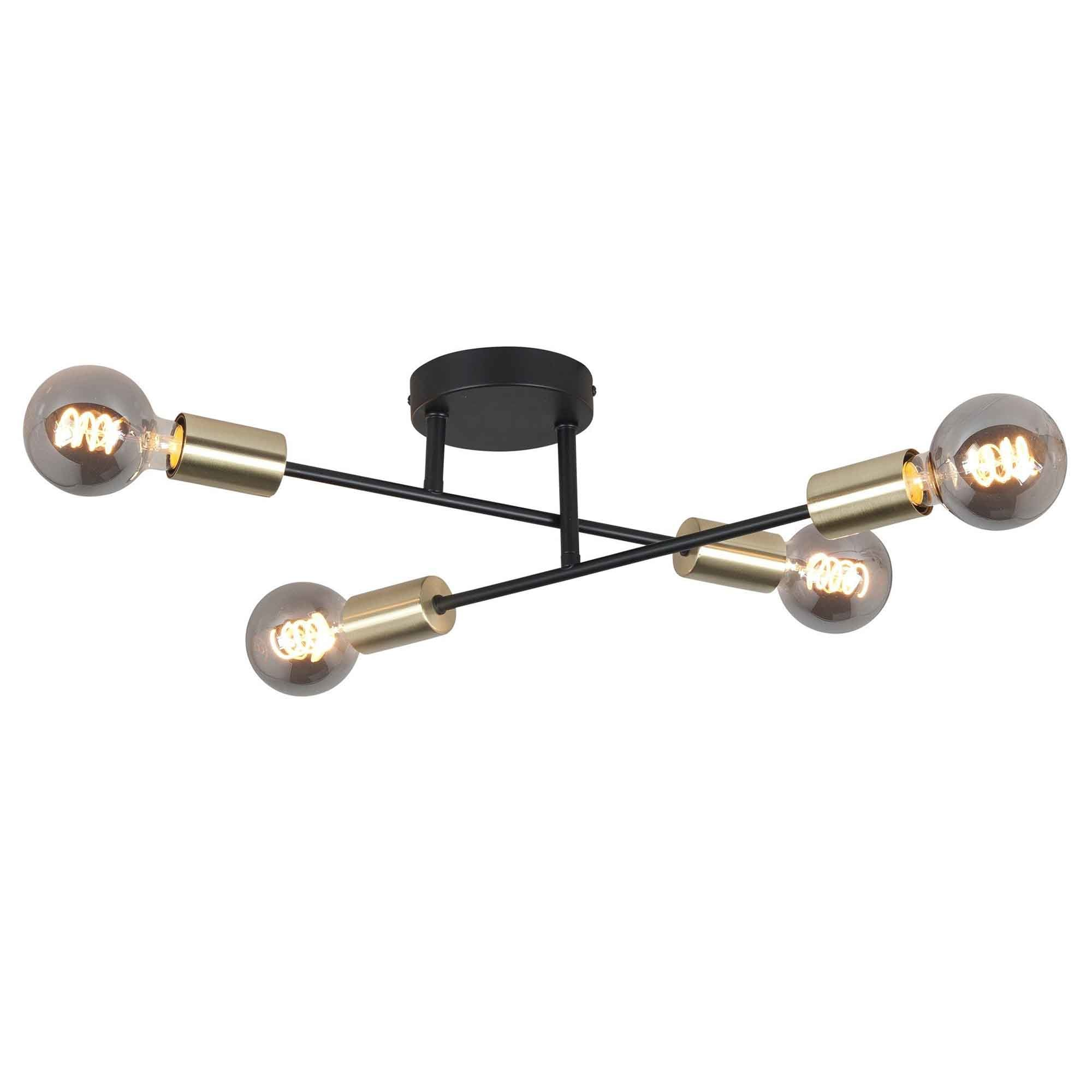 Highlight Plafondlamp Sticks 4 lichts � 60 cm goud zwart