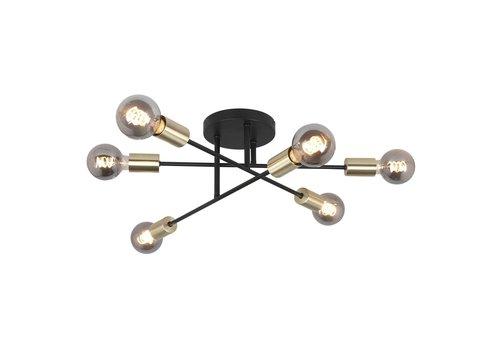 Highlight Plafondlamp Sticks 6 lichts Ø 70 cm goud zwart