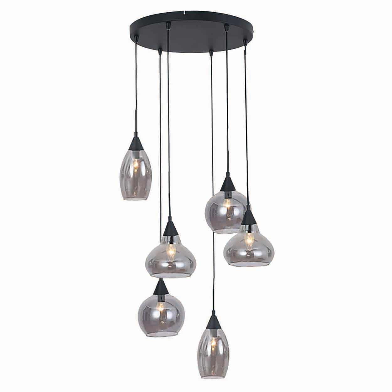 Freelight Hanglamp Macchia 6 lichts Ø 40 cm rook glas zwart