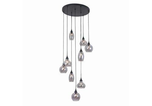 Freelight Hanglamp Macchia 9 lichts Ø 60 cm Vide rook glas zwart