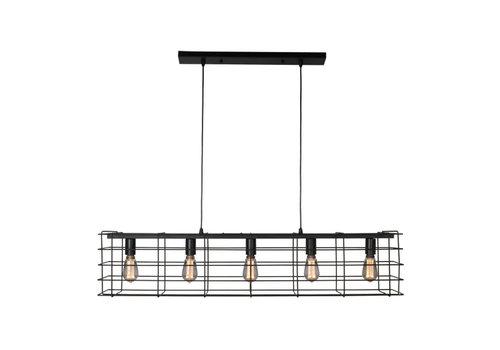 Freelight Hanglamp Squalo 5 lichts L 120 cm zwart