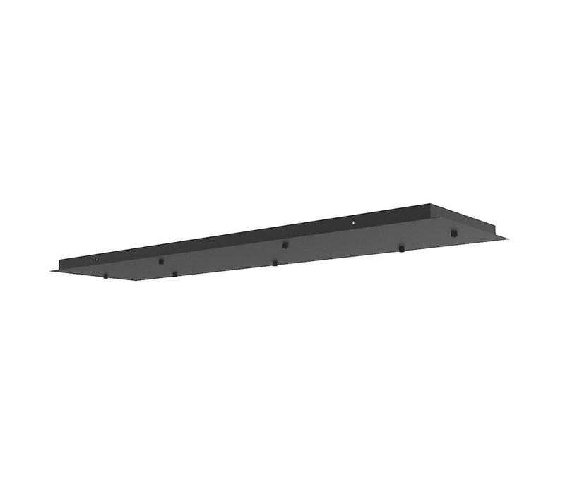 Plafondplaat L 120 cm B 30 cm met 7 gaten zwart
