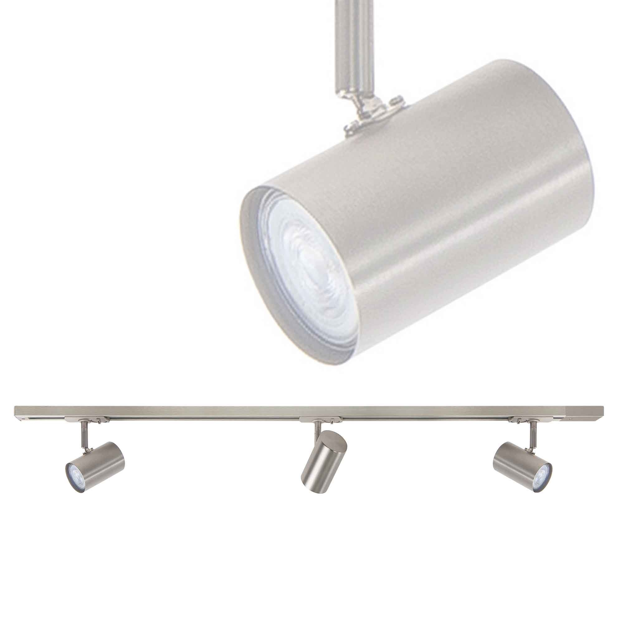 Highlight Railsysteem Trackline 100 cm + 3 cilinder spots mat chroom