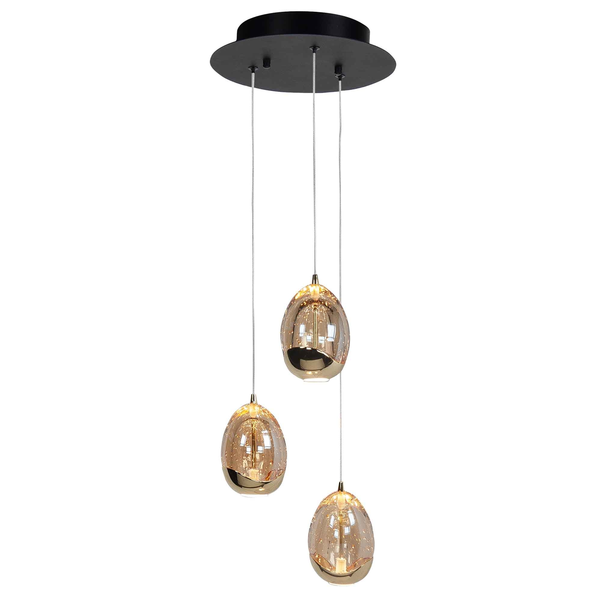 Highlight Hanglamp Golden Egg 3 lichts Ø 25 cm amber-zwart