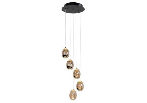 Highlight Hanglamp Golden Egg 5 lichts Ø 30 cm amber-zwart