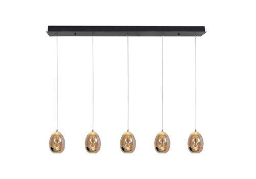 Highlight Hanglamp Golden Egg 5 lichts L 108 cm amber-zwart