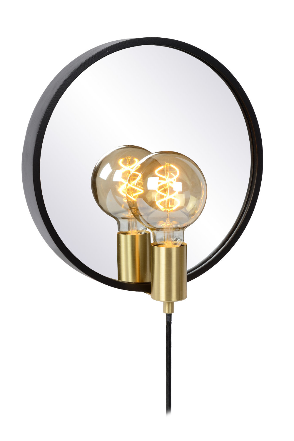 Lucide REFLEX Spiegellamp-Zwart-1xE27-25W-Hout