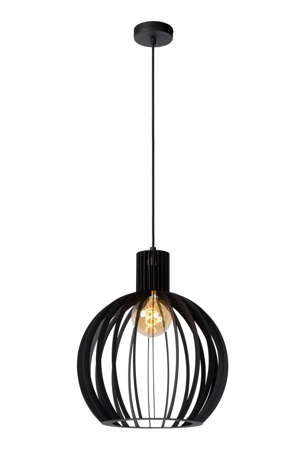 Lucide MIKAELA Hanglamp-Zwart-Ø35-1xE27-60W-Metaal