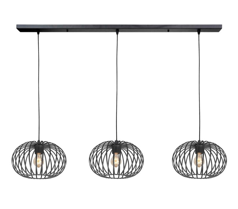 Hanglamp Bolato 3 lichts L 140 cm Ø 30 cm zwart