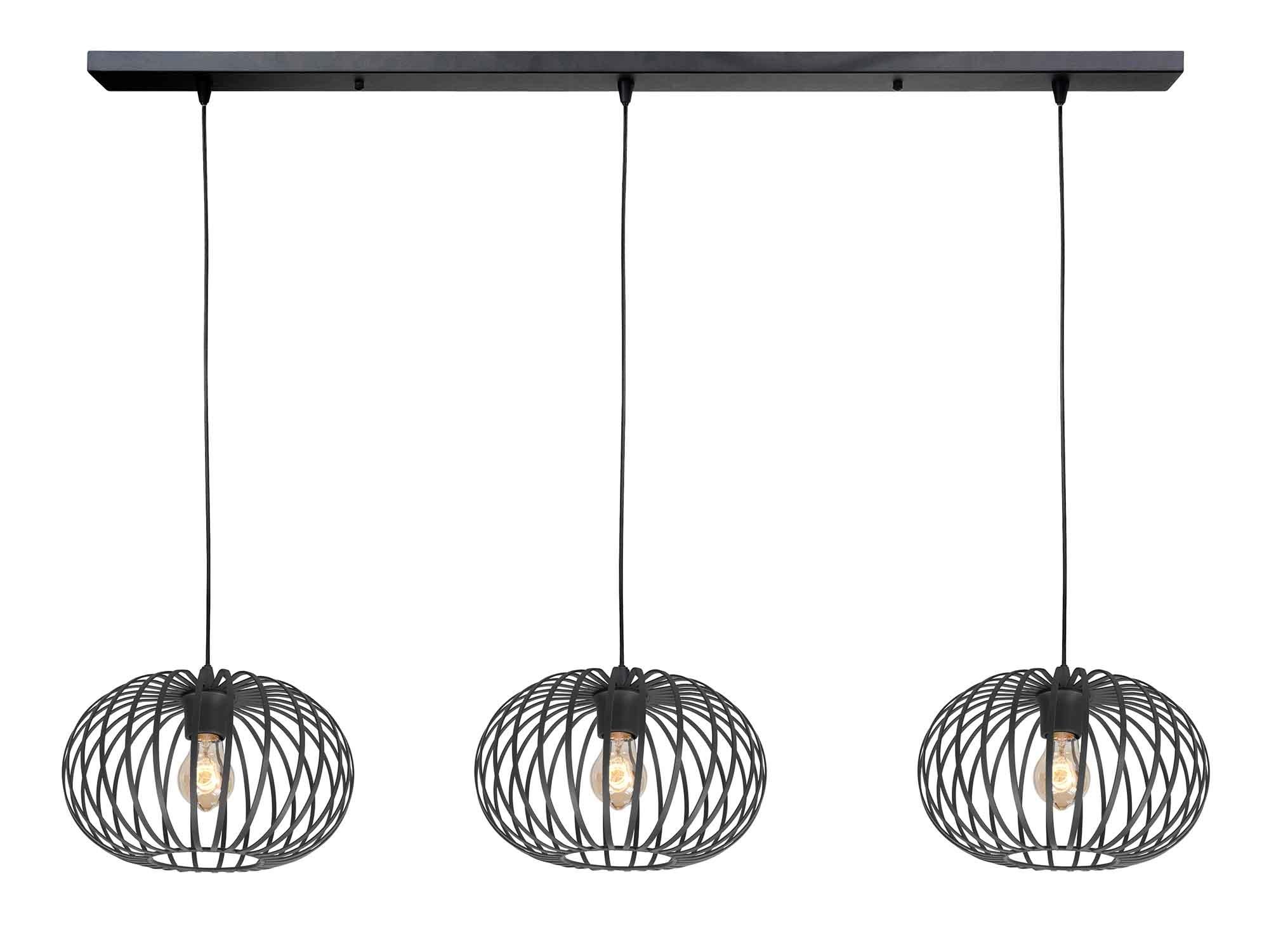 Highlight Hanglamp Bolato 3 lichts L 140 cm Ø 30 cm zwart