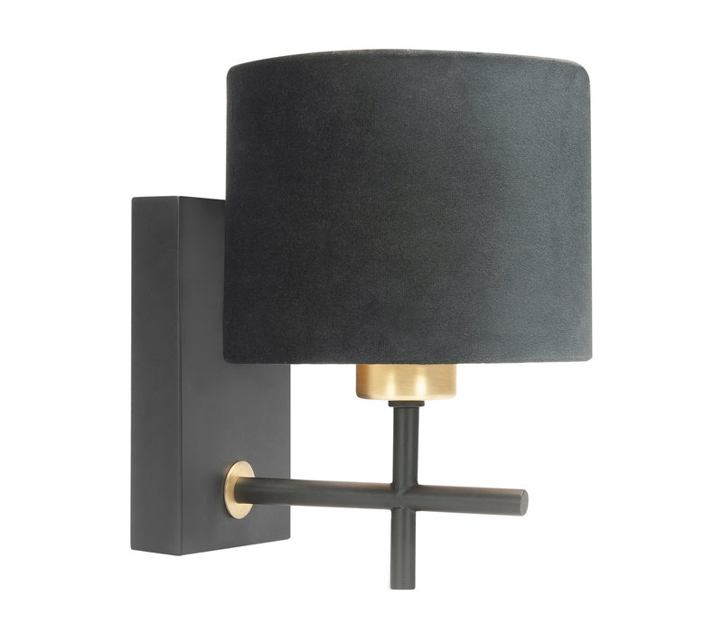 Wandlamp Torcia H 23 cm Ø 15 cm zwart goud