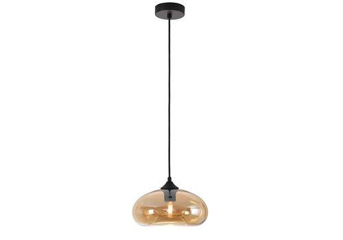 Artdelight Hanglamp Paradise Ø 28 cm amber glas zwart