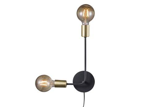 Nordlux Wandlamp Josefine 2 lichts H 44,5 cm goud zwart
