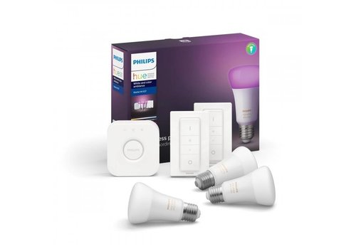 Philips HUE starterskit 3 LED lampen E27 White and Color Ambiance met bridge en 2x switch