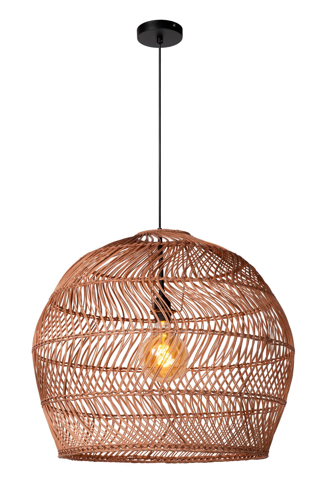 Lucide MOLOKO Hanglamp-Okerge.-Ø65-1xE27-40W-Rotan