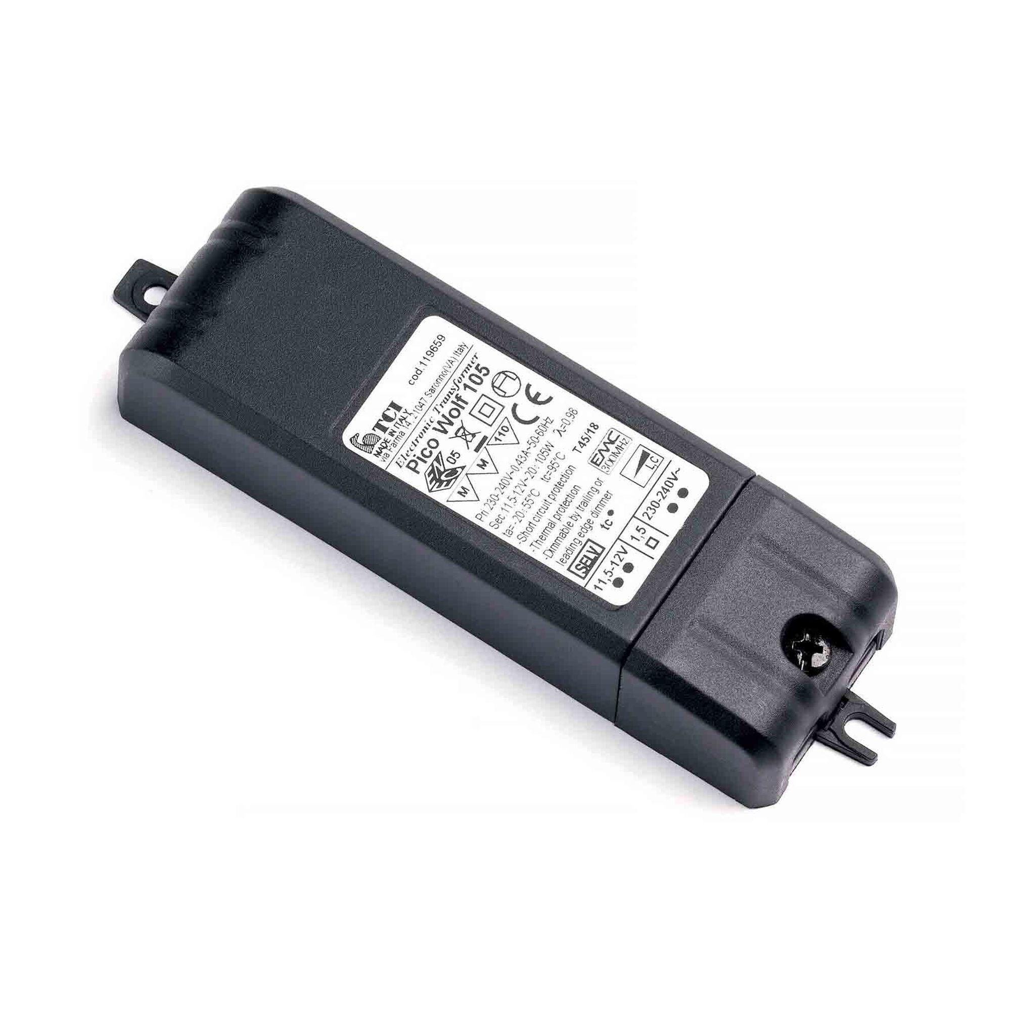 Ylumen Transformator Pico 20-105 Watt 12 volt zwart