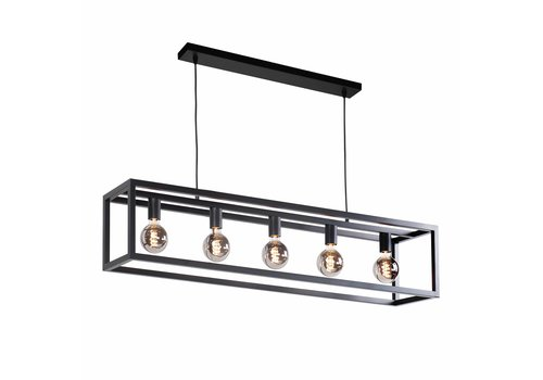 Highlight Hanglamp Fragola 5 lichts L 120 cm B 25 cm zwart