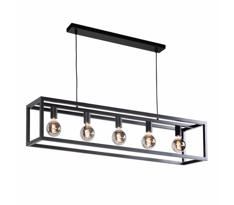 Hanglamp Fragola 5 lichts L 120 cm B 25 cm zwart