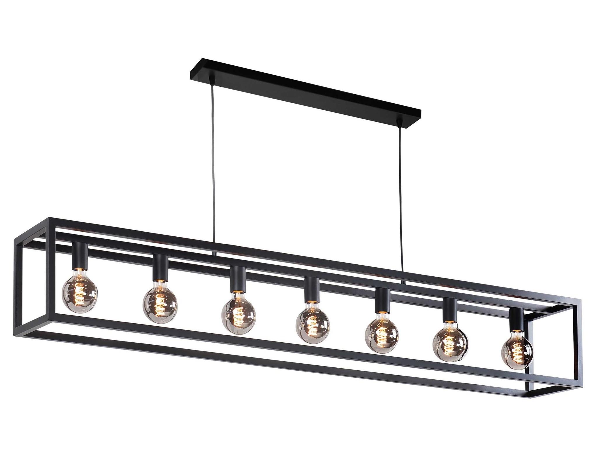 Highlight Hanglamp Fragola 7 lichts L 170 cm B 25 cm zwart