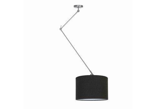 Ylumen Hanglamp Knik met zwarte kap Ø 40 cm mat-chroom
