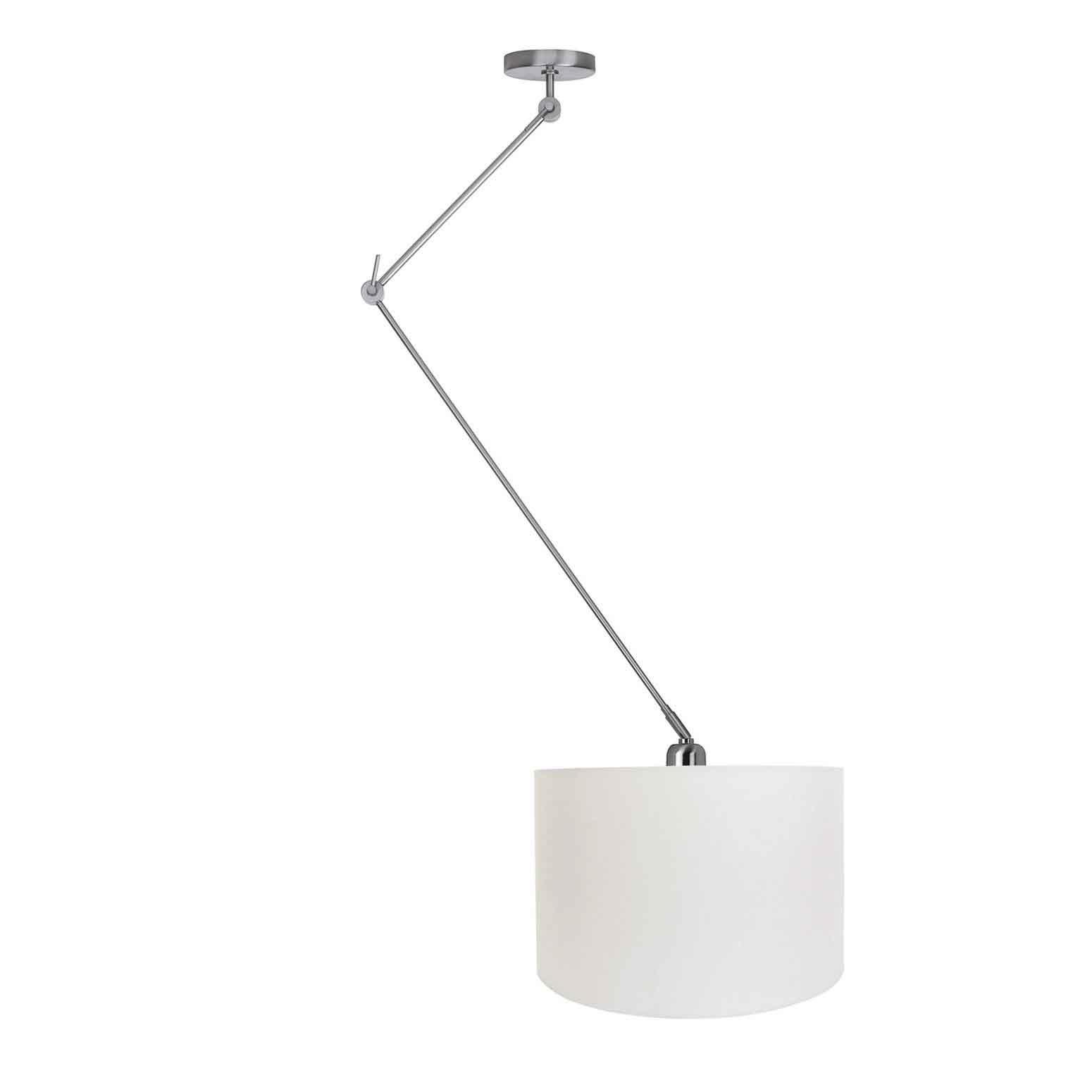 Ylumen Hanglamp Knik met witte kap Ø 40 cm mat-chroom