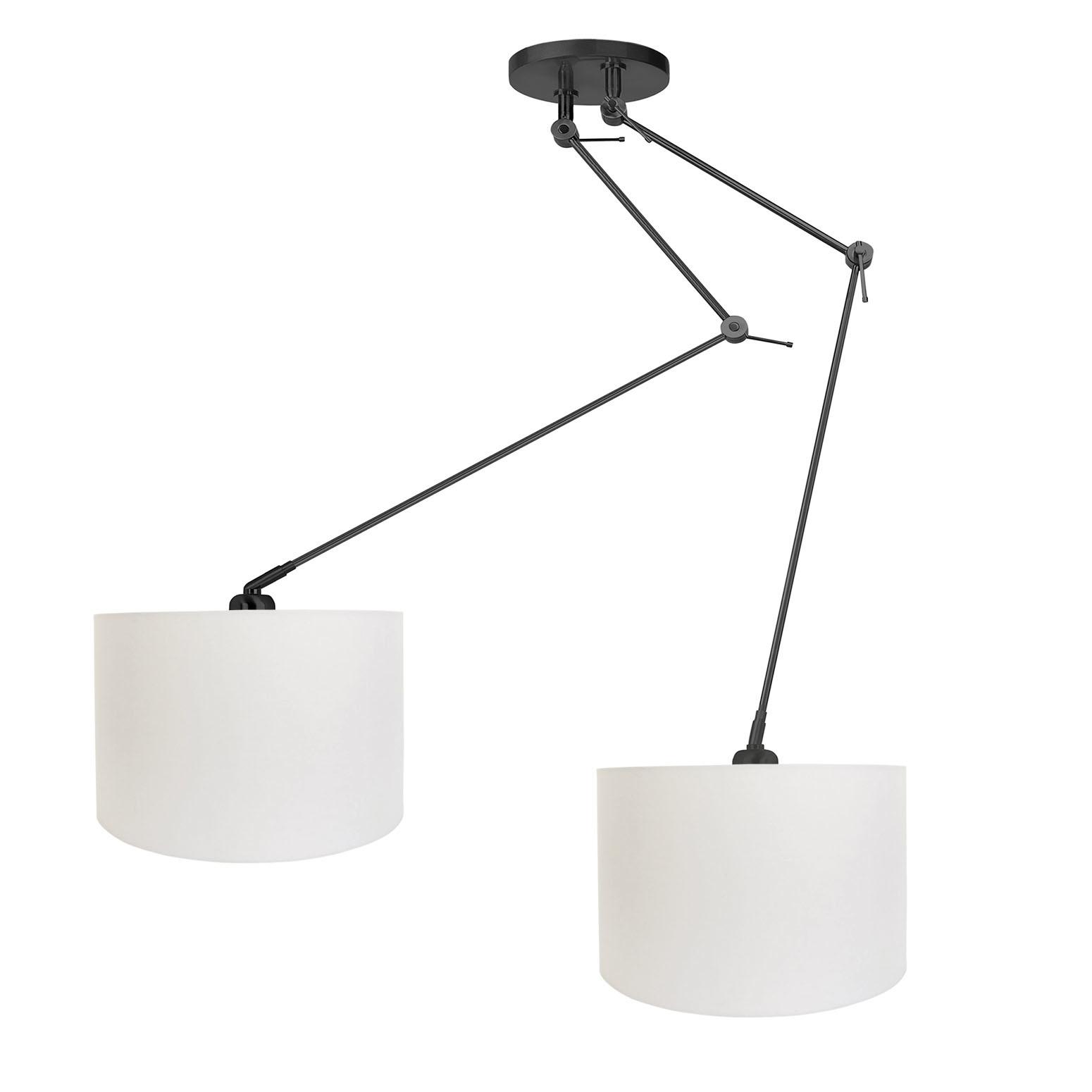 Ylumen Hanglamp Knik 2 lichts met witte kappen Ø 40 cm zwart