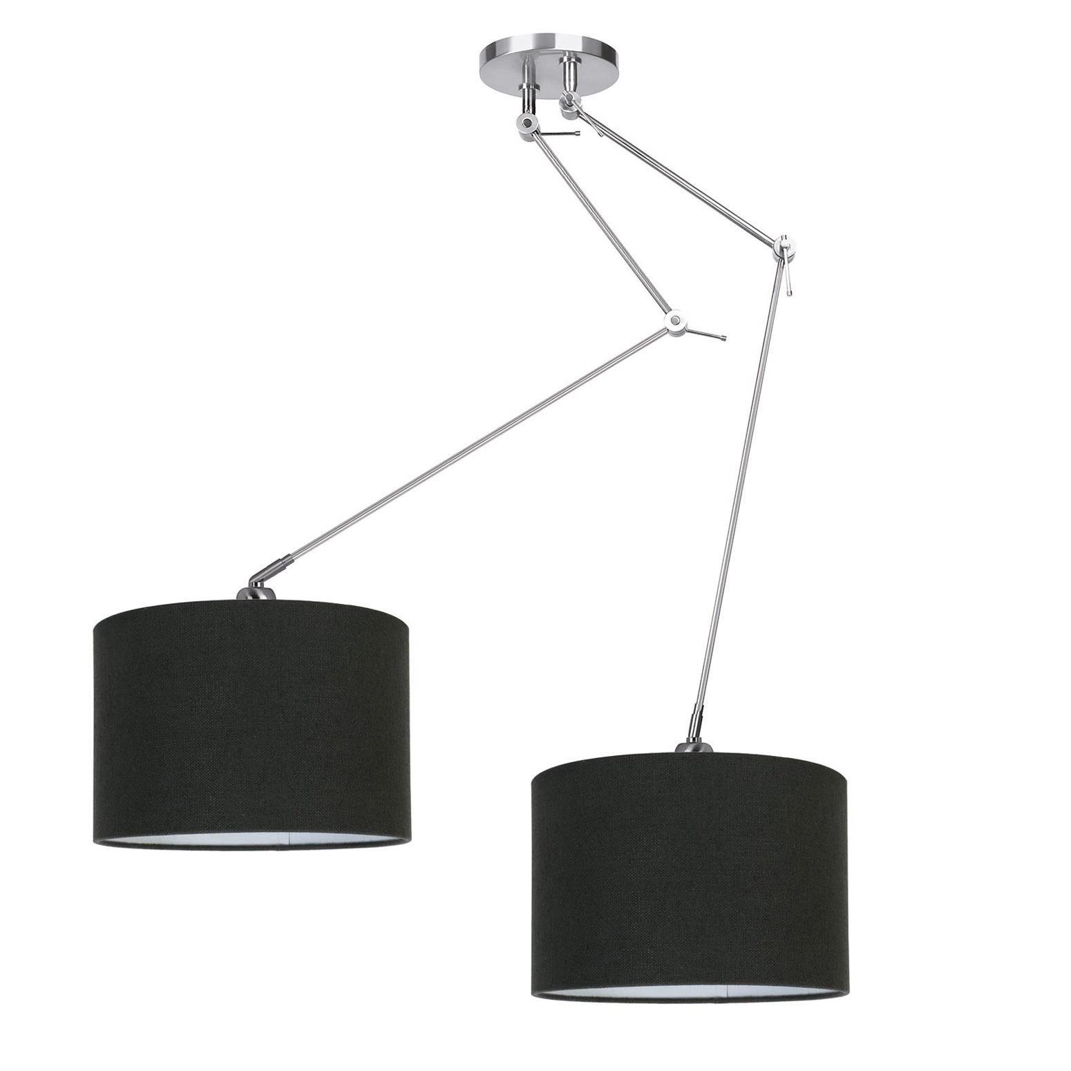 Ylumen Hanglamp Knik 2 lichts met zwarte kappen Ø 40 cm mat chroom