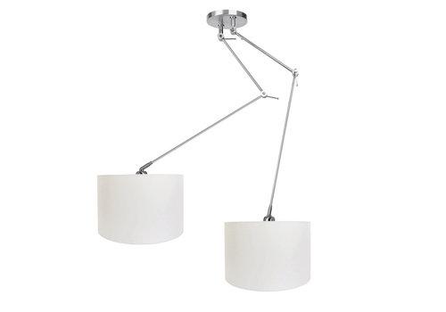 Ylumen Hanglamp Knik 2 lichts met witte kappen Ø 40 cm mat chroom
